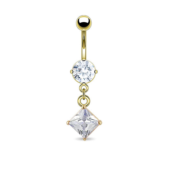 GOLD DIAMOND SQUARE DANGLE BELLY BUTTON RING