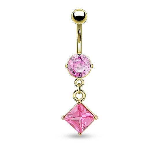 14K YELLOW GOLD PINK CZ SQUARE DANGLE BELLY RING