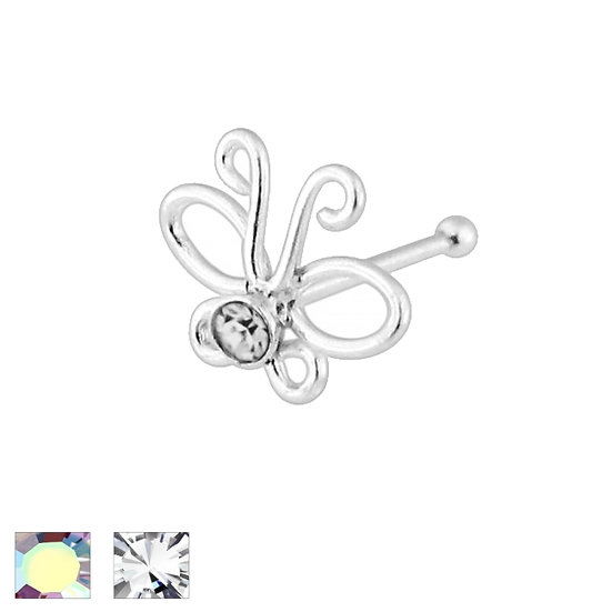 925 STERLING SILVER CZ BUTTERFLY NOSE PIERCING STUD