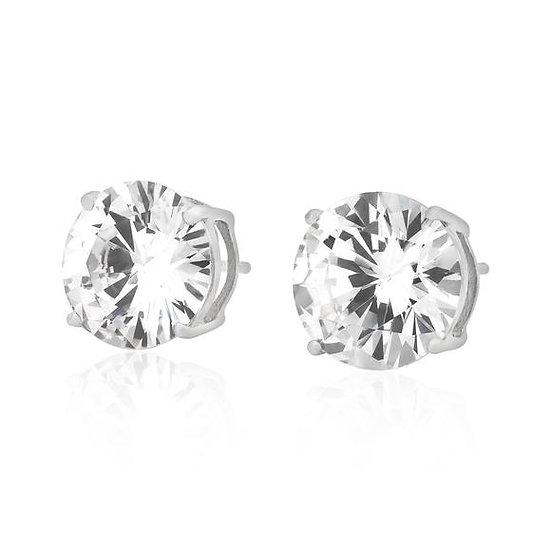 Premium Sterling Silver Simulated Diamond Stud Earrings