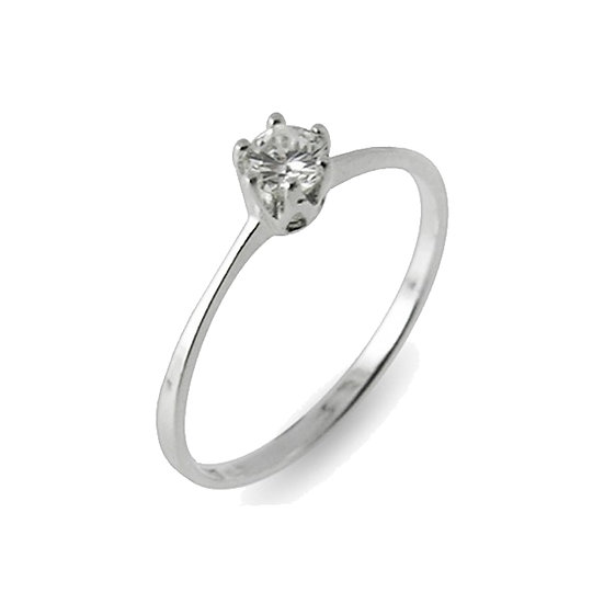 Brilliant Diamond 925 Sterling Silver Engagement Ring