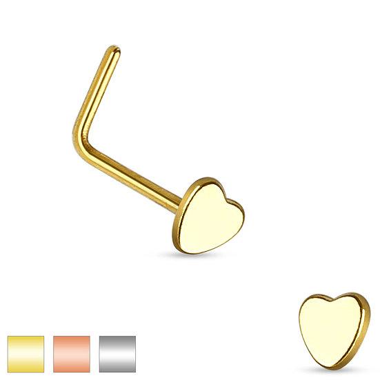 Mother Jewel Heart L Shape Bent Nose Piercing Stud