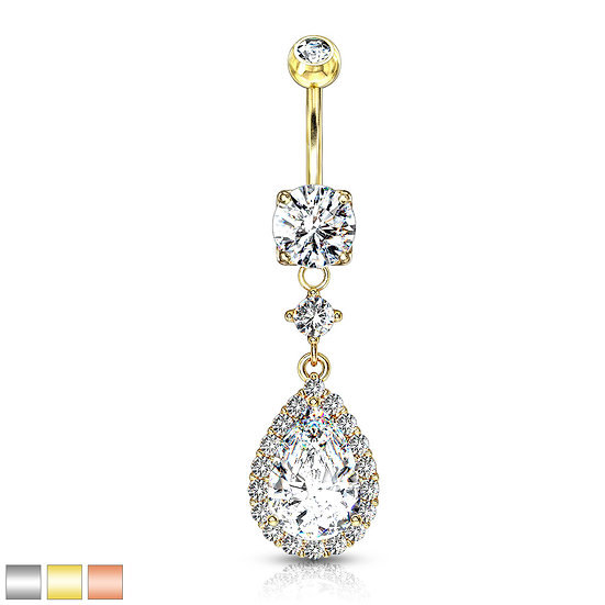 Diamond Tear Drop Navel Ring