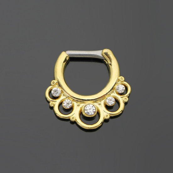 CUBIC ZIRCONIA LOOP YELLOW GOLD SEPTUM RING