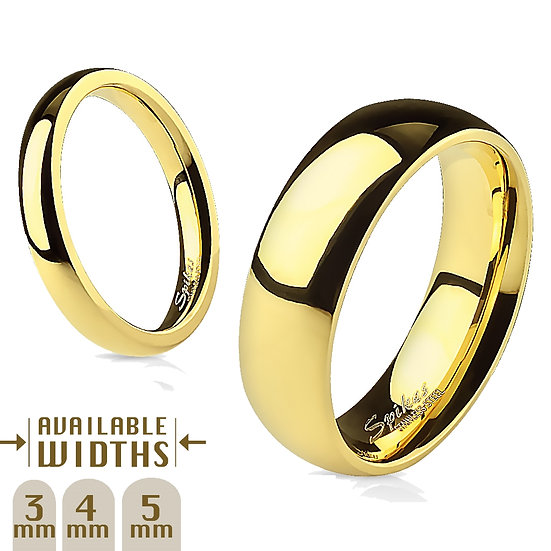 Glossy Mirror Polished Yellow Gold IP Wedding Plain Band Ring