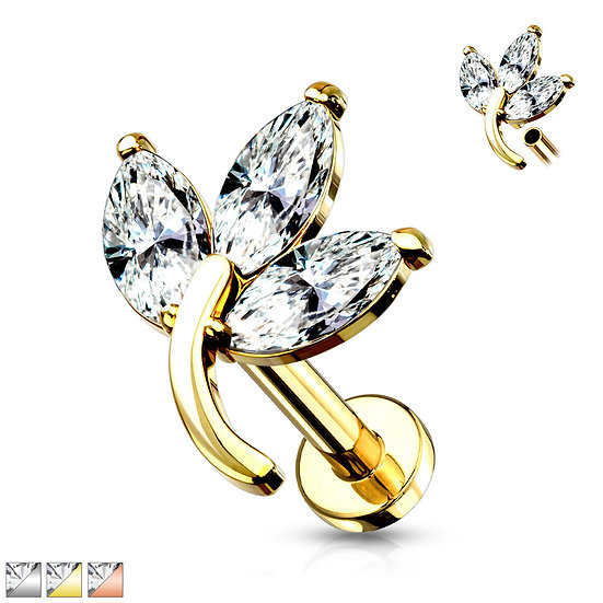 Mother Jewel Marquise Leaf Cartilage Stud