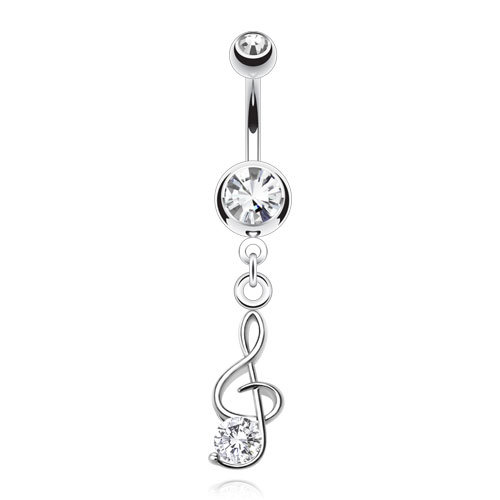 TREBLE CLEF MUSIC NOTE SILVER BELLY NAVEL RING