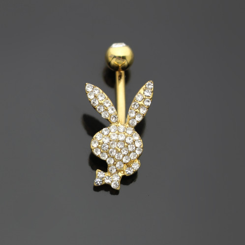 Fantastic CRYSTAL PAVED PLAYBOY BUNNY YELLOW GOLD NAVEL BELLY RING  WB47