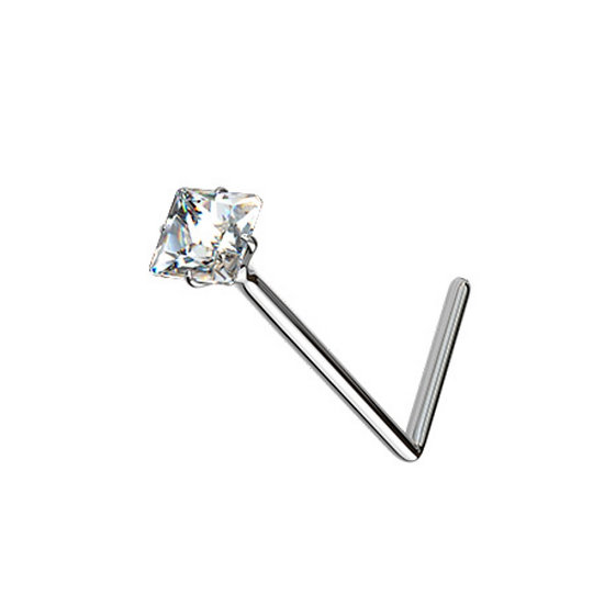 REAL SOLID 925 STERLING SILVER SQUARE DIAMOND L SHAPED NOSE STUD