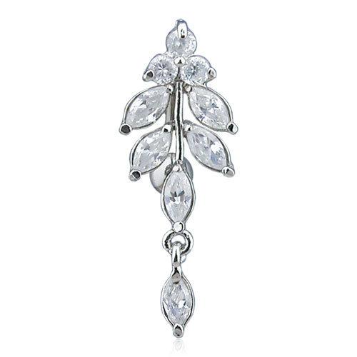 Reverse Diamond Leaves Dangle Belly Ring