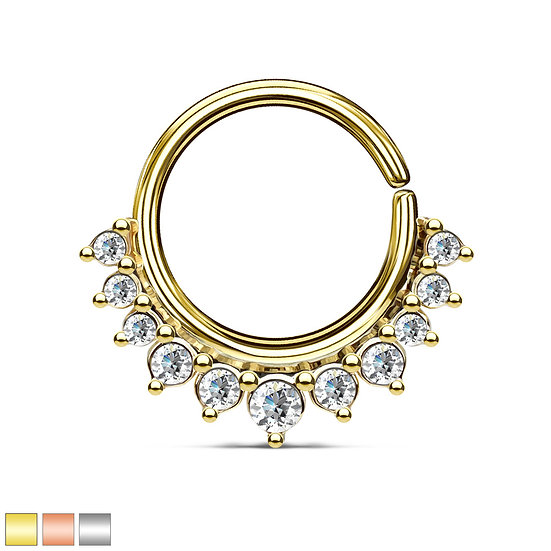 DIAMOND SEAMLESS HOOP EAR SEPTUM BENDABLE RING