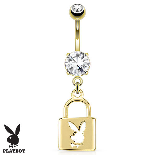 14K YELLOW GOLD TRIPLE PLATED PLAYBOY PADLOCK SIMULATED DIAMOND BELLY NAVEL RING