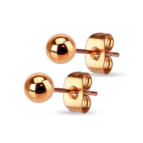 14k ROSE GOLD BIG PLAIN BALL UNISEX STUD EARRINGS