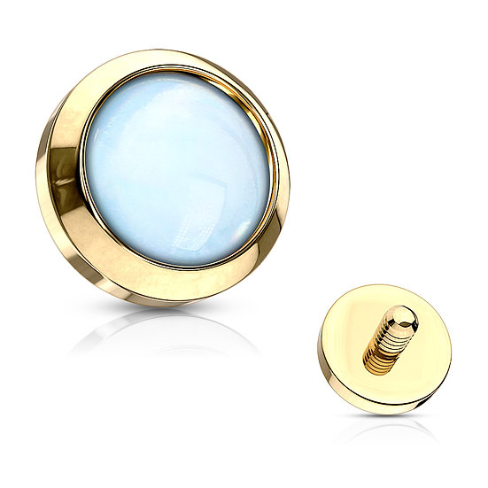 BLUE OPAL YELLOW GOLD DERMAL PIERCING IMPLANT TOP
