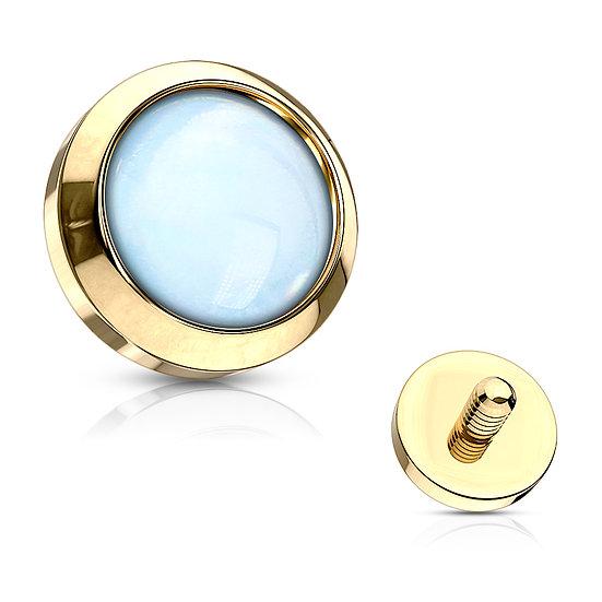 BLUE OPAL YELLOW GOLD DERMAL PIERCING IMPLANT TOP