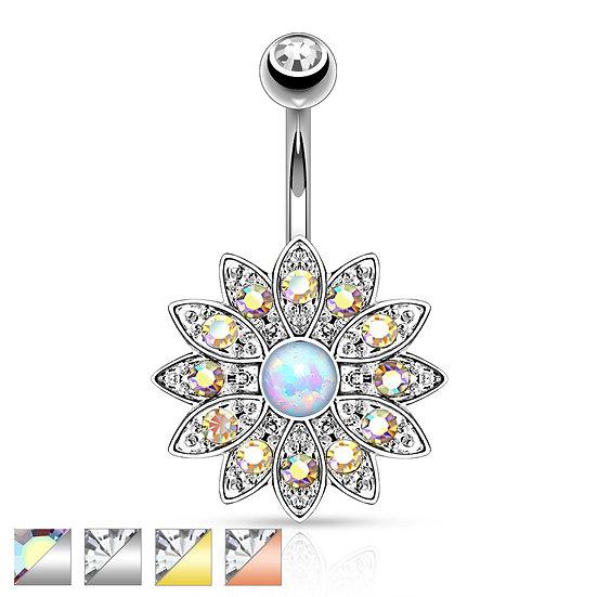 OPAL FLOWER NAVEL RING