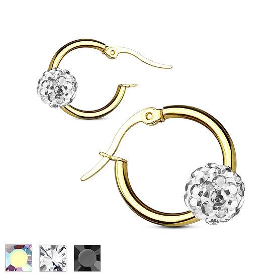 Gold Crystal Ball Hoop Earrings
