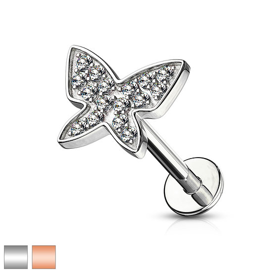Micro Paved Diamond Butterfly Tragus Helix Stud