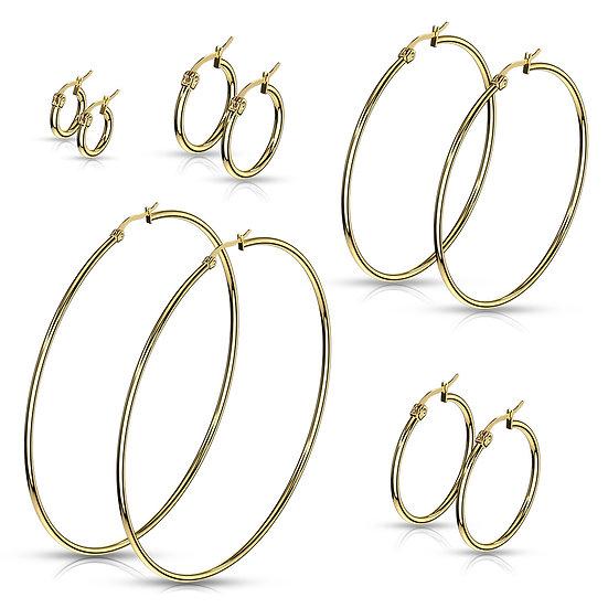14k Yellow Gold IP Thin Hoop Earrings