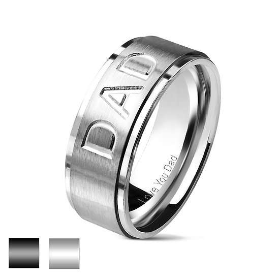 """STAINLESS STEEL DAD """"LOVE YOU DAD"""" ENGRAVED BAND RING"""