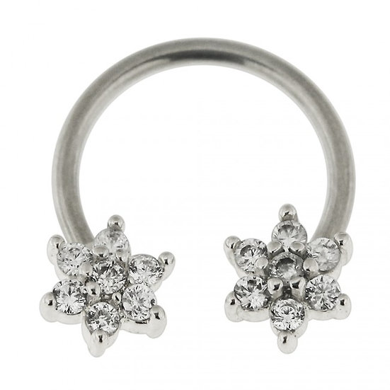SIMULATED DIAMOND FLOWER SEPTUM SILVER CIRCULAR BAR RING