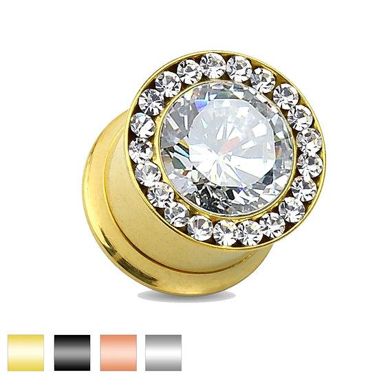 DIAMOND SCREW FLESH TUNNEL PLUG SPACER EARLET