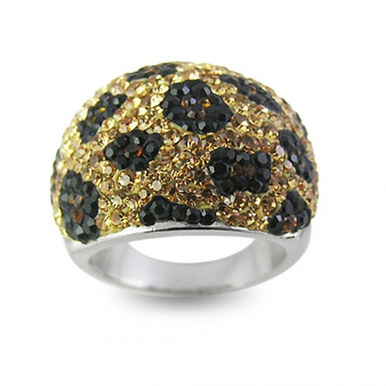 GOLD BLACK CHEETAH AUSTRIAN CRYSTAL SILVER STATEMENT RING