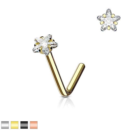 STAR DIAMOND NOSE PIERCING L SHAPE 14K GOLD IP STUD