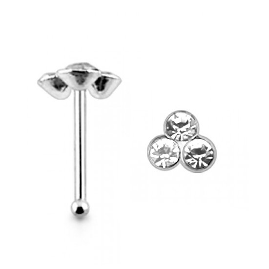 925 Sterling Silver Crystal Celtic Nose Piercing Ball End Stud