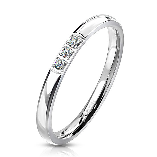 Triple Diamond Band Silver Ring