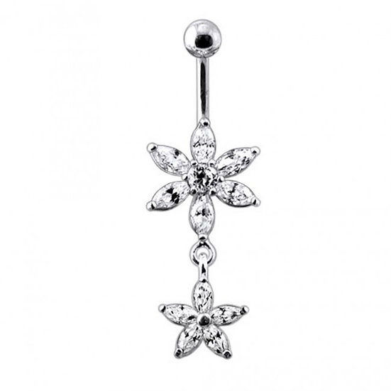 Sterling Silver Double Flower Belly Ring