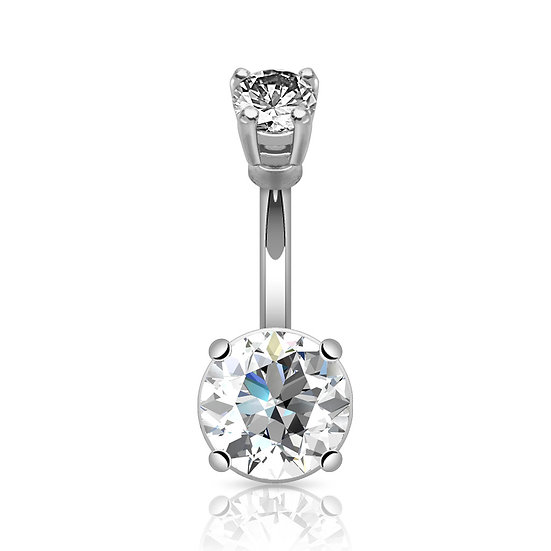 ROUND DIAMOND SILVER BELLY BUTTON NAVEL RING