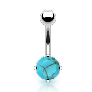 TURQUOISE BELLY BUTTON SURGICAL STEEL RING