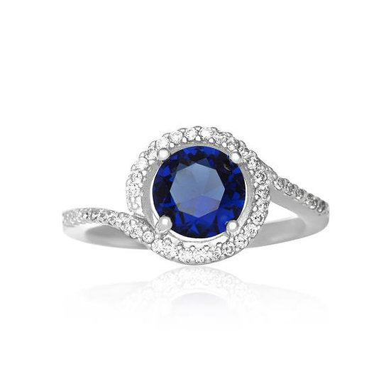 Solid 925 Sterling Silver Twisting Halo Round Sapphire Blue CZ Ring
