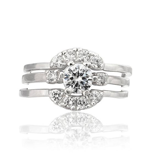 Sterling Silver Diamond Engagement & Wedding Band 3 Ring Set