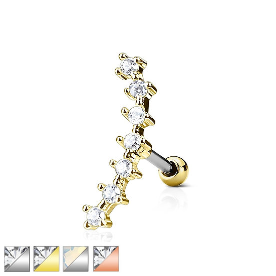 SILVER SIMULATED DIAMOND CURVED LINE CARTILAGE TRAGUS HELIX STUD