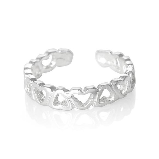 Real 925 Sterling Silver Love Heart Midi Toe Ring