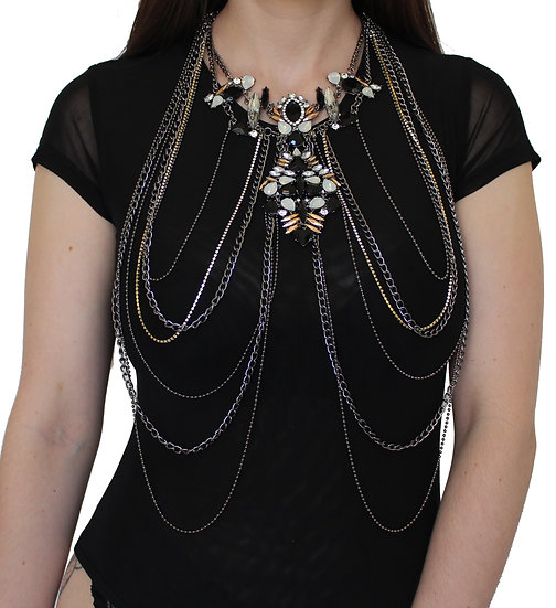 DELUXE BLACK GUNMETAL NECKLACE BODY CHAIN