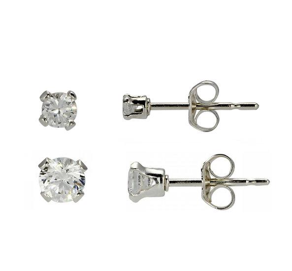 Sterling Silver 2mm & 3mm Diamond Stud Childrens Earrings