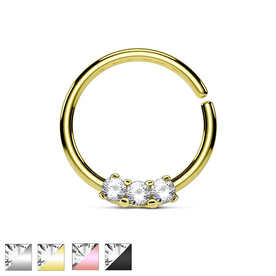 THREE SIMULATED DIAMONDS HOOP EAR SEPTUM RING
