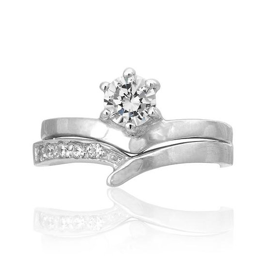 Real Sterling Silver Diamond Engagement & Wedding Band Ring Set