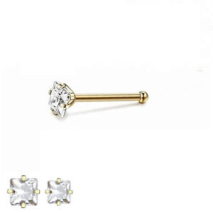 Solid 9K Gold Square 2mm Diamond Nose Piercing Stud