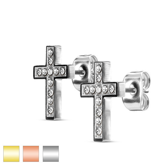 DIAMOND CROSS STUD EARRINGS