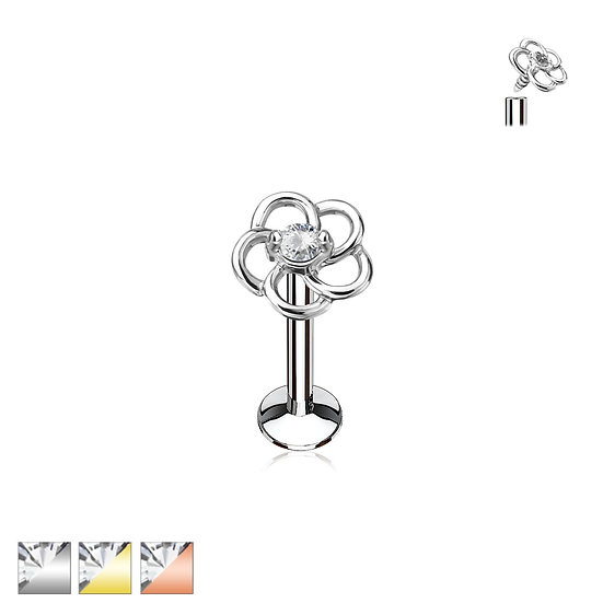 DIAMOND CENTRED FLOWER TRAGUS MONROE CARTILAGE STUD