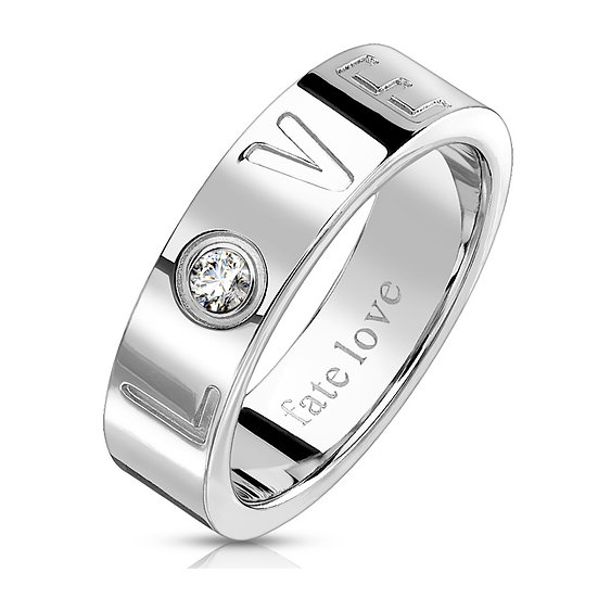 STAINLESS STEEL LOVE EMBOSSED 6MM BAND RING