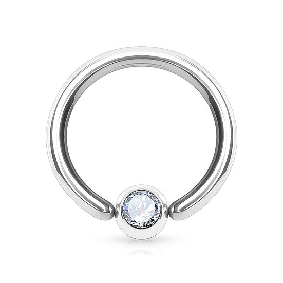 8MM SILVER CBR 14G JEWELLED CAPTIVE SEPTUM HOOP RING