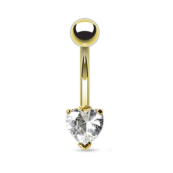 DIAMOND HEART YELLOW GOLD BELLY BUTTON RING