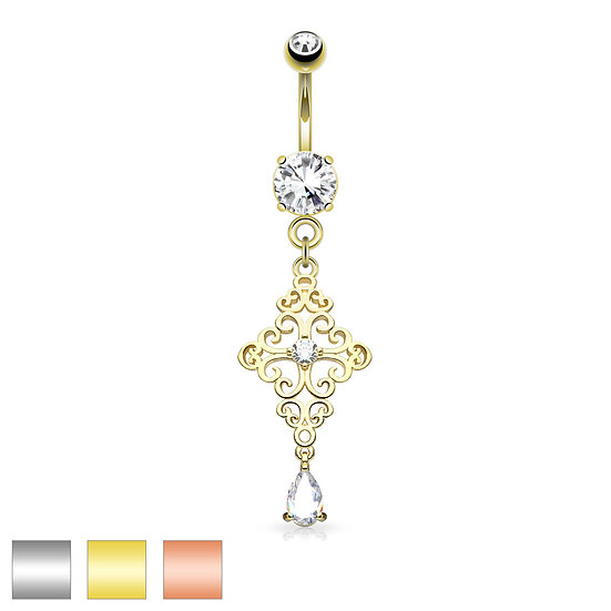 DIAMOND FILIGREE CROSS DANGLE NAVEL BELLY RING - ROSE GOLD