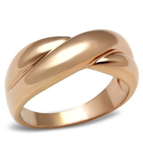 18CT ROSE GOLD IP KNOT LADIES WOMENS BAND RING