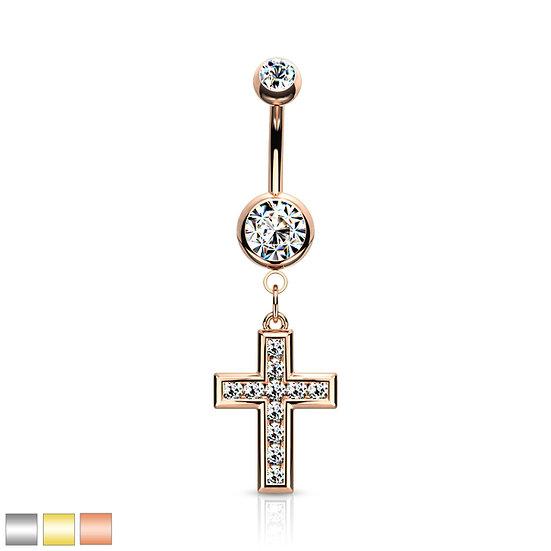 Diamond Cross Belly Ring